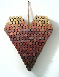 heart shaped wall hanging from recycled wine corks