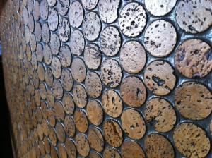 cork tiles surface bar at Boathouse Restaurant on Kits Beach