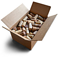 box of 100 used wine corks for on-line shopping