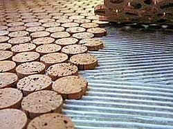 wine corks sliced into discs suitable for cork flooring tiles
